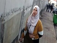 chubby hijab arab chick with big bosoms spy in street
