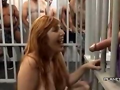 Bukkake - Cockslut with big tits in american prison bukkake
