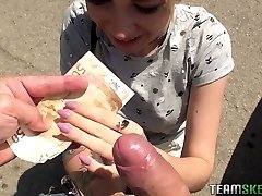 Cute teen Arteya shows her breasts and fucks for money