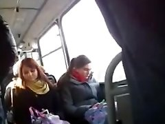 Flashing a big pink cigar for a curious girl in the bus