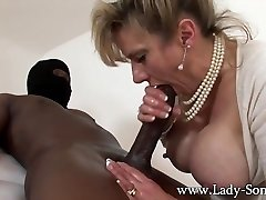 Cougar Lady Sonia strokes HUGE black cock