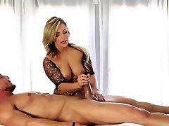 Blonde masseuse strokes