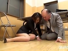 Japanese Cougar ass groped in the office! her elder boss wants some fresh vagina