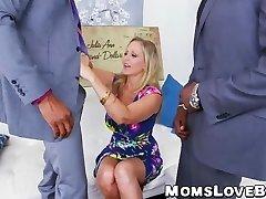 Hot blonde Milf Julia Ann beaten in threesome by BBCs