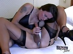 Nylon Jane gargles impressive big cock before fuckin TGirl ass