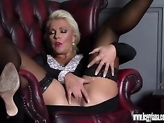 Horny platinum-blonde Milf finger plows tight humid pussy in nylon after date night