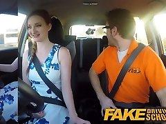 Fake Driving School rosy nipples big tits redhead facial cumshot