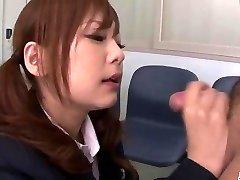 Miku Airi Chinese schoolgirl blows a big dick