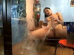 Massive webcam squirt on the mirror