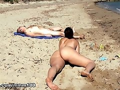 Nikki Litte in Cute Luxurious spanish girl playing bare on the beach and peeing on older guy  - MMM100