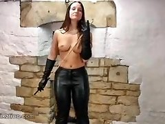 Babe paws tits with leather jacket and bare-chested dom with whip