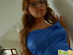 Prime Cups big-titted redhead in glasses teases