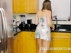 Stepmom MILF in Satin Nighty Pounding