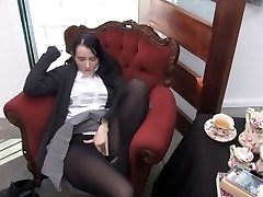 Youporn Female Director Series: Big Jug geek girl in pantyhose pops