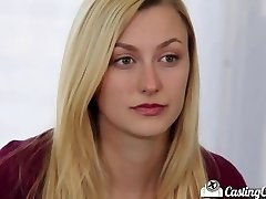 Casting Couch-X Blondie cheerleader shows off