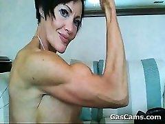 Muscular Mature Girl Flexing