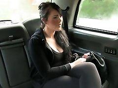 Brit bbw fucked in fake taxi in public