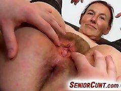 Grandma Linda pussy spreading close-ups and fuck stick-plowing