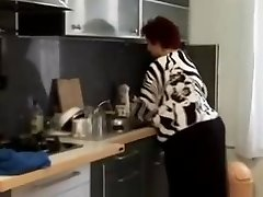 Fat Plus-size granny humped in the kitchen