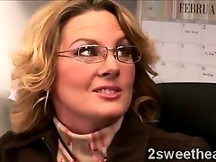Big stacked mature secretary trains her new splendid buddy