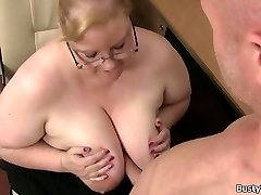 Obese massive boobs secretary rides boss beef whistle