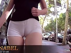 Youthful bodacious girl takes her huge cameltoe out for a walk