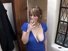 smoking female down blouse big breast