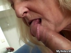 Blonde old granny rails his big dick