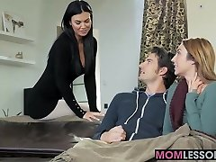 Hot stepmom Jasmine Jae walked in and wished to lend a palm