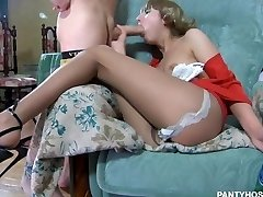 Drunk russian skinny teenager in pantyhose