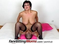 Big natural jugs lady Greta with a boy czech pussy-smothering