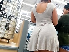 Candid booty mixed girl in dress