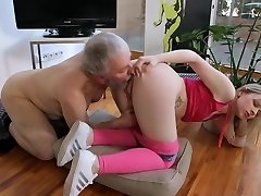 Young small orbs Hardcore Elderly guy and blonde shaved girl