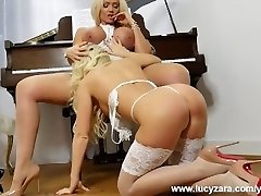 Blonde lesbian babes with massive tits tease and play with gash in sexy white underwear nylon tights and high heels