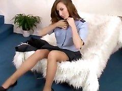 school girl peels off to garter belt and nylons