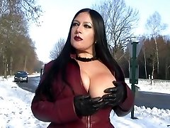 Leather Glaze Flashing in Public - Blowjob Handjob with Leather Gloves - Jism on my Hooters