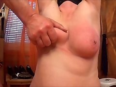 spanking and smacking her tits