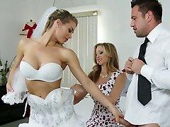 Big boobed bride and her sexy kooky satiate kinky groom with steamy Oral Pleasure