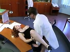 Busty secretary gets licked and fucked by the therapist