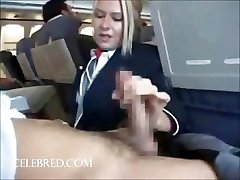 Sexy stew gargling and stroking dick on plane uniform dt big tits big cock hj blonde hilarious