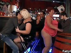 Hilarious monstrous tits party in the bar