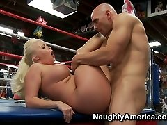 Fat and ugly Angel Vain with big boobs ravaging a small man meat on a boxing ring