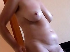 Lush slut oils her ugly boddy and the saggy tits