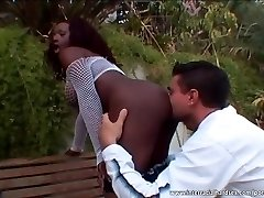 Amazing ebony plowed by the pool
