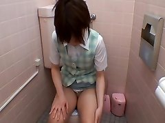 Chinese bares off tits and cunt to get climax on toilet cam