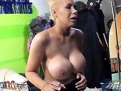 Wild big-boobed harlot Candy Manson smoking and masturbating