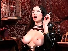 Smoking and demonstrating big tits