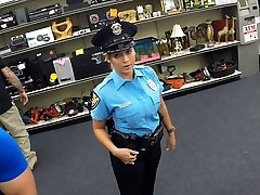 Spectacular and thick tits police officer gets fucked in Shawns office