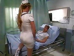 Nurse gets poked on a gurney