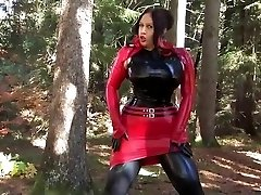 Busty Halloween Beauty - Outdoor Blowjob Hj with Latex Gloves - Cum on my Gloves